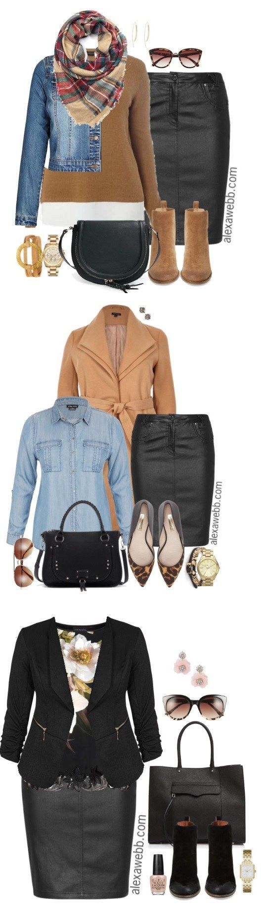 Plus Size Faux Leather Skirt {3 Ways} - Plus Size Outfit Ideas - Plus Size Fashion for Women - alexawebb.com #alexawebb
