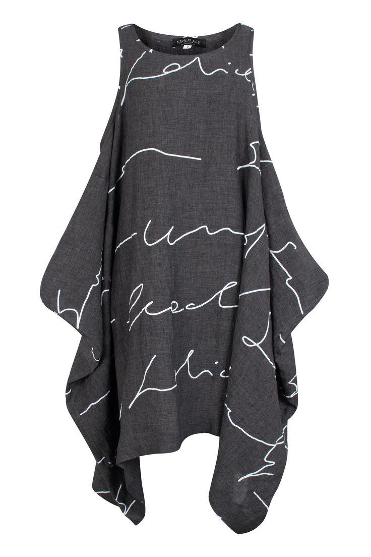 Kamuflage Anthracite Abstract Linen Tunic-Dress | idaretobe