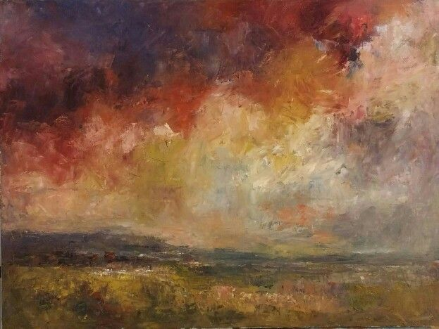Red Sky oil on stretched canvas