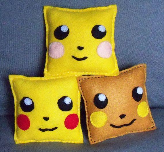 Collectable Pokemon Evolution Pillow Trio (Pichu, Pikachu, Raichu). $25.00, via Etsy.