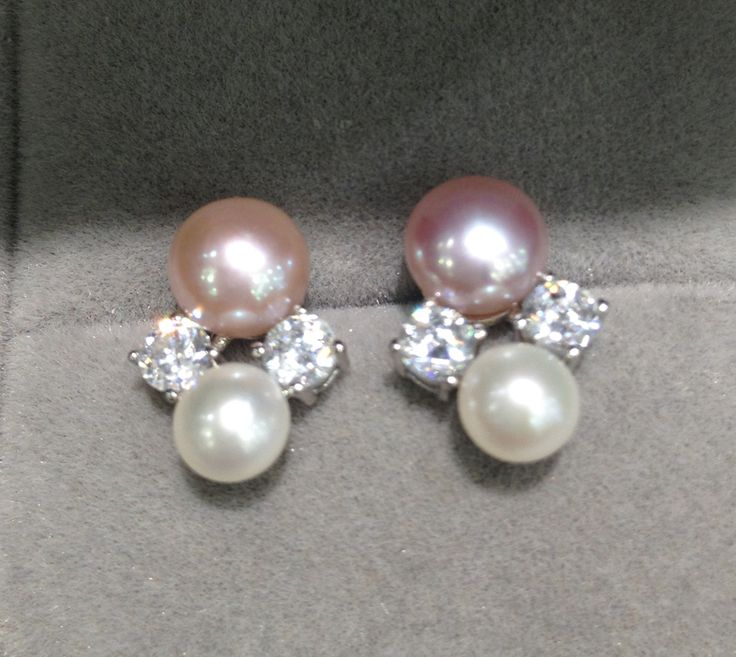 natural fresh water pearl stud earring double pearl earring  925 sterling silver with cubic zircon fashion women jewelry
