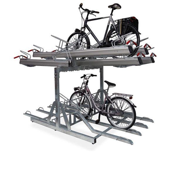 Etage- fietsenrek FalcoLevel Premium+ met FietsParKeur voor h.o.h. 40 én 37,5 cm.