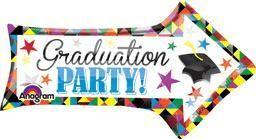 """36"""" Grad Party Arrow -Non-Pkg foil balloon"""