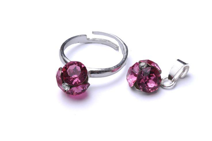 Inel și pandantiv cu 3 pietre Swarovski Xirius. #bijuterii #swarovski #swarovskicrystals #argint #simoshop