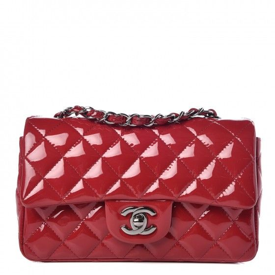 b76f08a7f365 CHANEL Patent Calfskin Quilted Mini Rectangular Flap Red Classic Style,  Shoulder Strap, Zipper,
