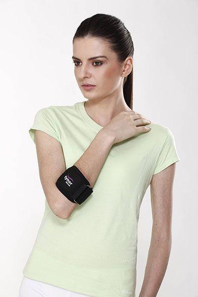 Está diseñada para ayudar a proporcionar alivio del dolor generalizado, dolor en el antebrazo y el codo causados por una lesión por esfuerzo repetitivo, debido al fuerte agarre o movimiento de los dedos