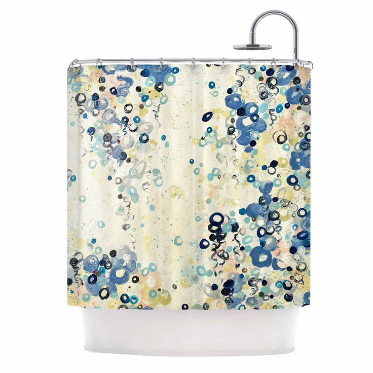 Ebi Emporium And Its Up She Goes Blue Cream Shower Curtain