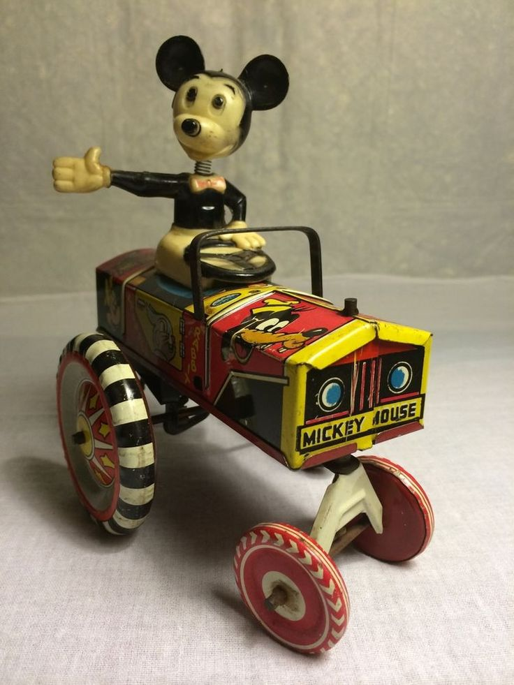 1940-50s Antique Marx Tin floor toy, Mickey Mouse Dipsy Car