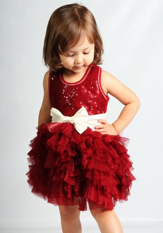 Bunnies Picnic - Ooh La La Couture Wow Dream Dress in Red with Champagne Bow for Babies - Girls Boutique Clothes