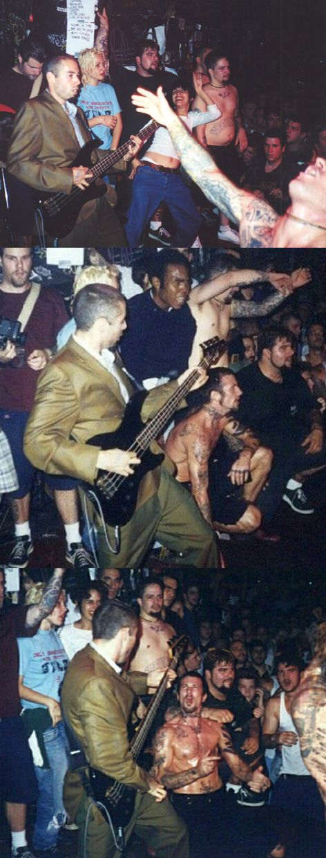 MCA playing with the Cro-Mags at CBGB's. Adam Yauch played a Bad Brains cover.  Sorry, don't know photographer ... amazing pix