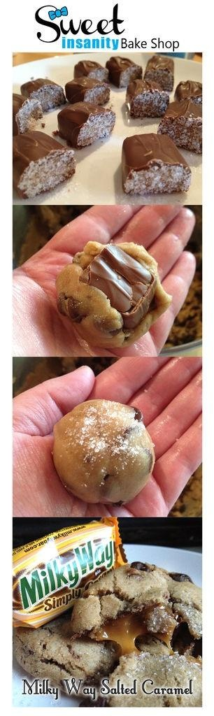 Milky Way Salted Caramel Cookies // Made these and they were SO GOOD! The batter made over 30 cookies though! I ran out of Milky Ways lol. I also use 1 less cup of chocolate chips. It was just too much for me.
