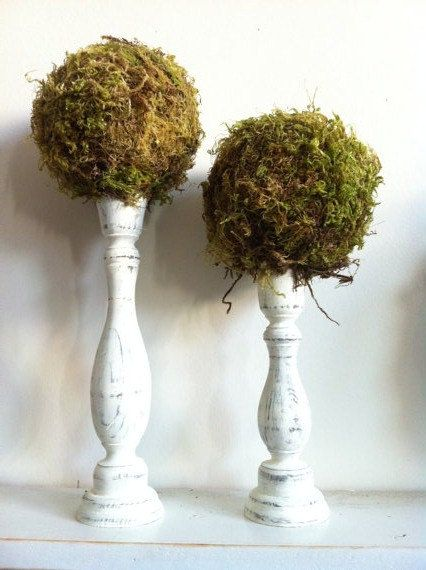 Moss Topiaries Set of 2 by JBJunkMarket on Etsy, $43.00