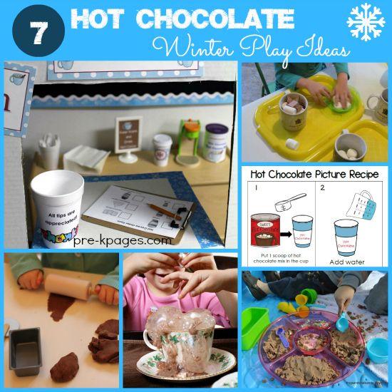 7 ideas for hot chocolate winter play in preschool and kindergarten