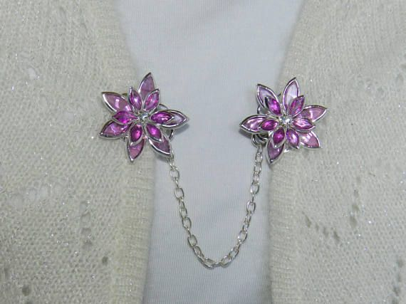 Silver sweater clips Silver cardigan clips Silver sweater