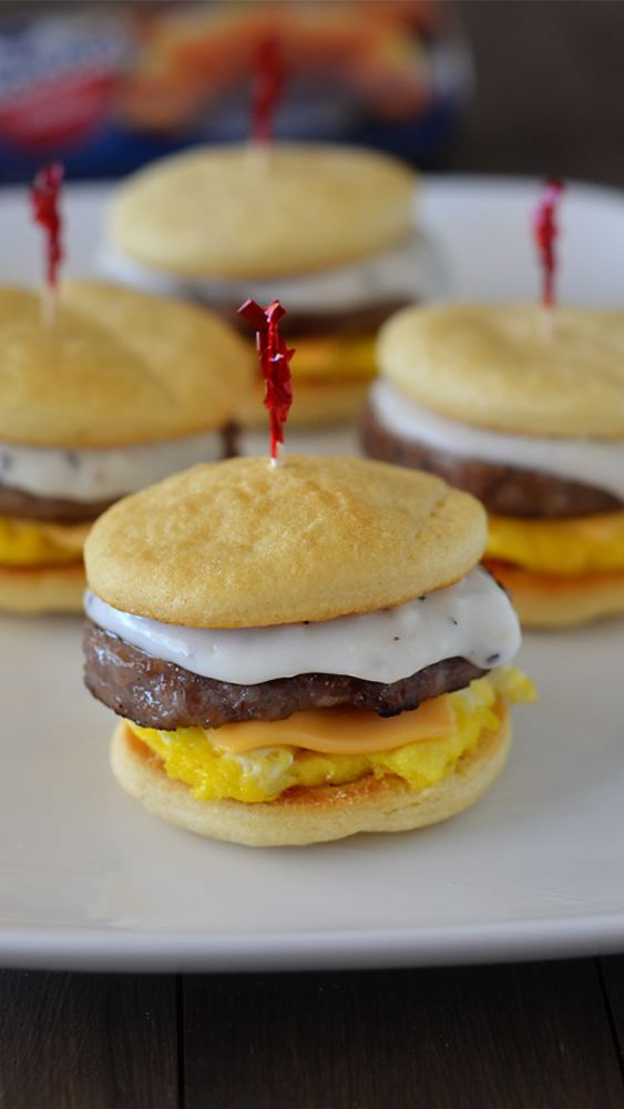Easy Breakfast Sliders!! Sausage, egg, cheese and creamy gravy. These are delicious!
