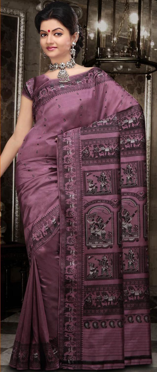Mauve Bengal Handloom Baluchari #Silk #Saree With #Blouse @ US $144.16
