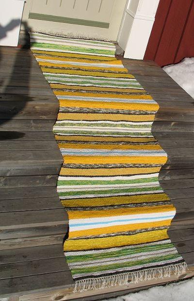 Grönvivor, Trasmatta vävd i tuskaft, 70 x 242 cm