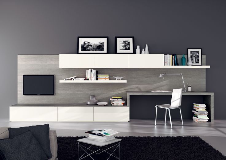 #Living-room includes desk. Designed by #Scavolini  Interior Design  Pinterest