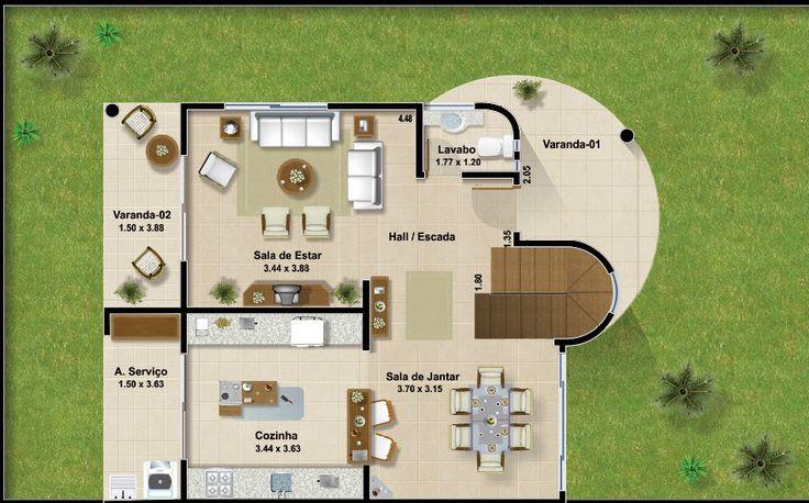 Plano de casa de dos pisos y tres dormitorios en esquina