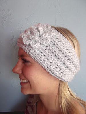 Apple Blossom Dreams - Crochet(Hekling) Icy Blue Ear Warmer