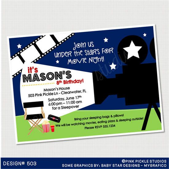 outdoor movie birthday invitation or thank you card custom personali