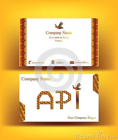 #Business #card with #API #letters design, referring to the #word #apiculture, with abstract decor resembling #honeycombs and with one small #bee #symbol, on yellow background
