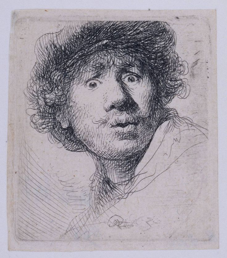 ZELFPORTRET Rembrandt: Self-Portrait with a Cap, staring openmouthed (1630). Etching and burin.
