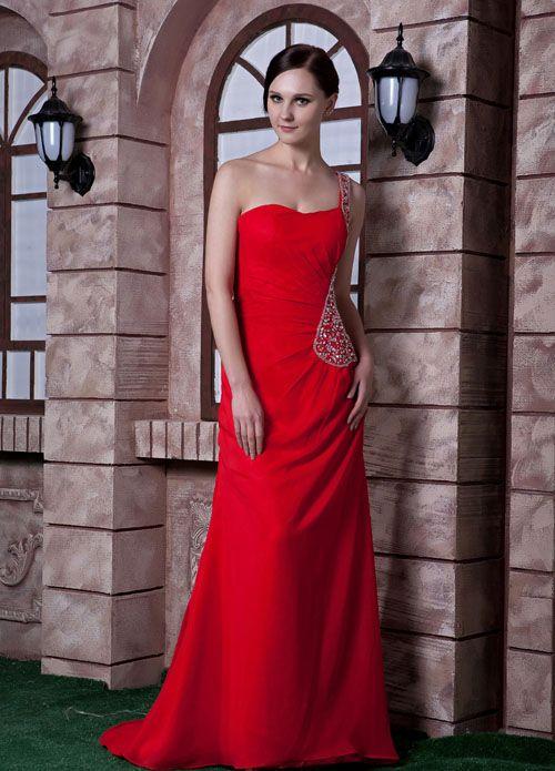 Veronica Hot Chiffon One-Shoulder Beading Asymmetrical Cut Out Wasit Evening Dress