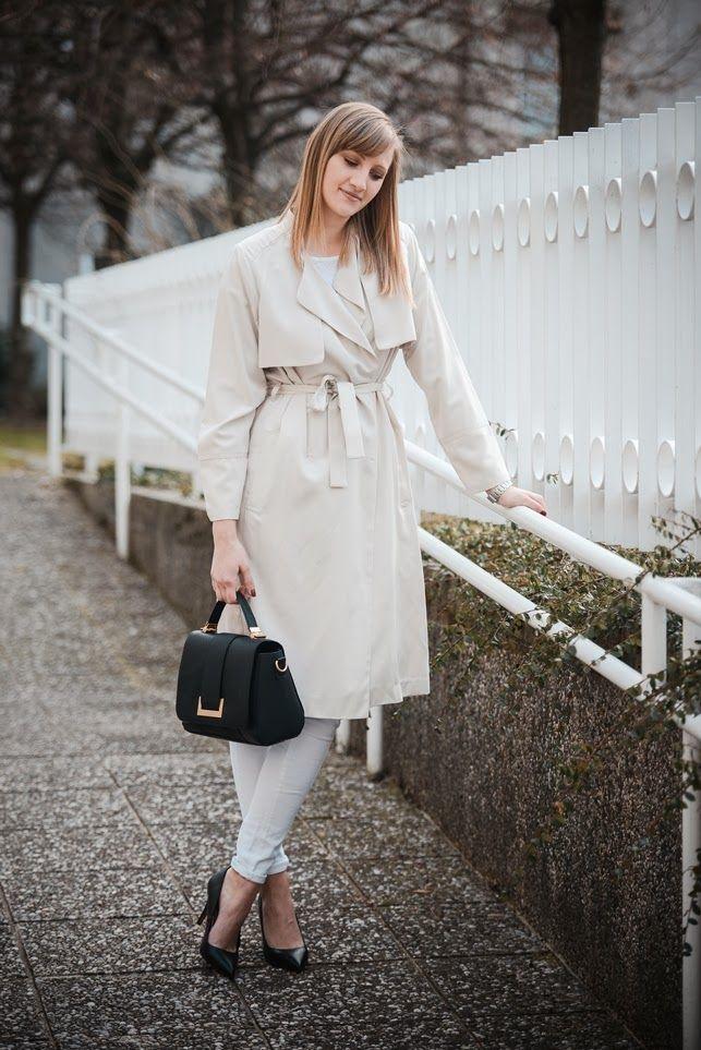 hm bej trençkot ekstra uzun, ss 2014 saat & M, stil blogger, tüm beyaz kıyafet, moda blogger, hm çanta 2014, romantik kıyafet bakmak