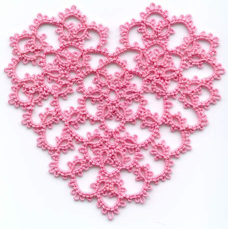 Tatted lace  heart designed by Teri Dusenbury.