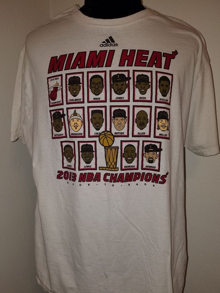 NBA Miami Heat 2012 Finals Champions Adidas Tshirt L  picture of  players & name #adidas #MiamiHeat