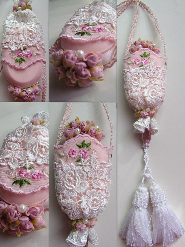 Angela Lace - wonderful idea for lacy soap fragrance holder with flowers, beads and tassles....add your own flair to it while it freshens your room!