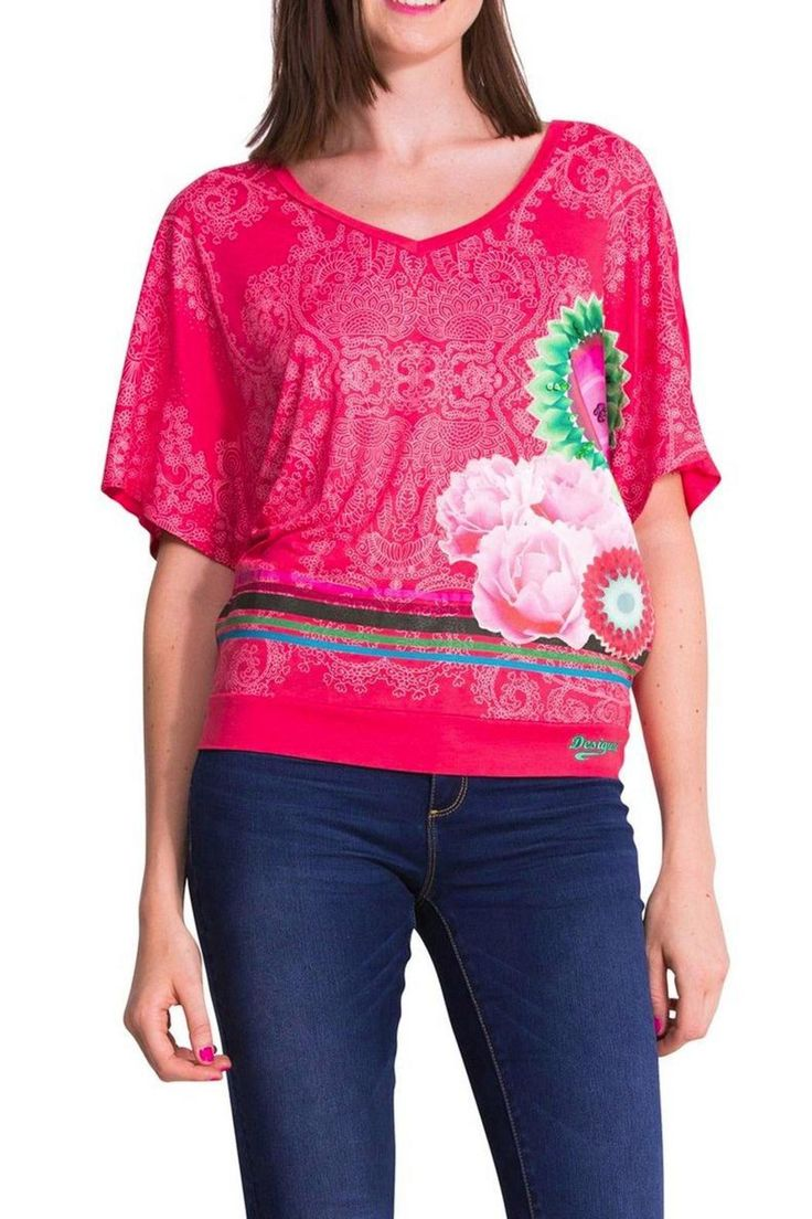 Oversize pink batwing T-shirt will feel very comfortable and fresh.   Pink Dolman Top by DESIGUAL. Clothing - Tops - Short Sleeve St. George, Utah