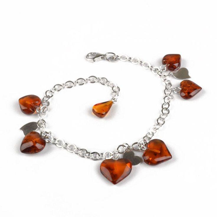 Charming Amber Hearts Bracelet