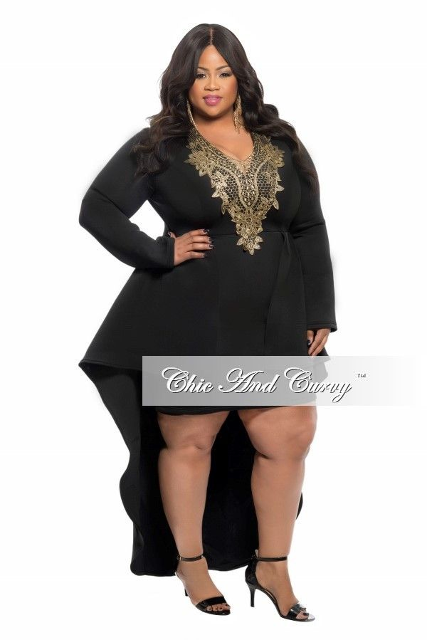 plus size dress with long peplum tail in black and gold
