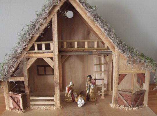 Handmade wooden nativity scenes