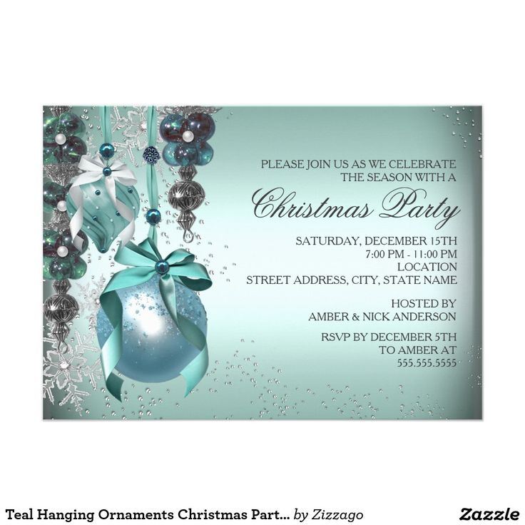 Teal Hanging Ornaments Christmas Party Invite