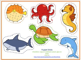 Free Puppet Sticks that match the new uploaded Ocean Printable No Prep!
