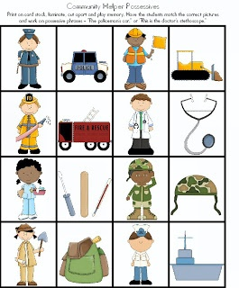 Articulation - Speech and Language Pronouns and WH questions with Community Helpers