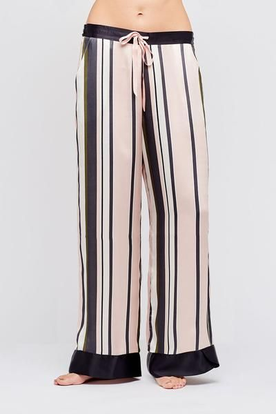 Hesper Fox's Charleston stripe silk pajama pants in lustrous pure silk satin have a wide-leg cut perfectly in step with this season's languid silhouette for the epitome of relaxed, downtime chic. Flat-fronted with slanted pockets, a drawstring waist and a soft elasticised back to ensure a personalised fit, they are the perfect loungewear for relaxed evenings at home and a stylish addition to a luxury nightwear wardrobe. http://hesperfox.com/products/eos-charleston