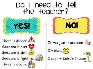 Tattle poster - Do I need to tell the teacher? Yes/No list. Love this!