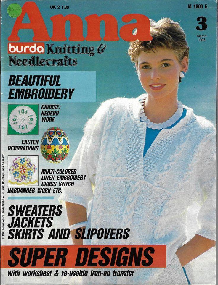 Anna Burda Needlework & Crafts magazine March 1985 knitting embroidery Easter #AnnaBurda