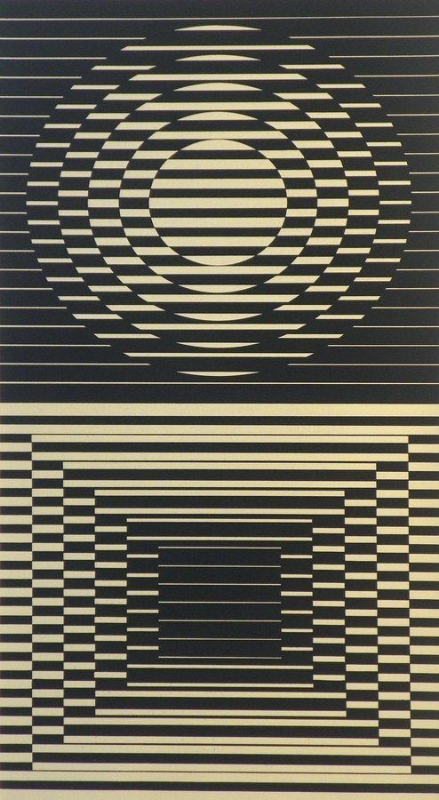 Designer & Manufacturer: Victor Vasarely  Markings: signed; e. 135/150  Country of Origin & Materials: Hungarian; lithograph  Additional Information & Circa: Lithograph by Victor Vasarely (1908-1997).
