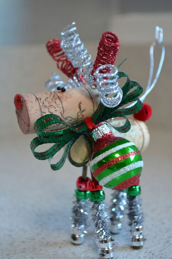 Reindeer Holiday Ornaments by TheCorkForest on Etsy