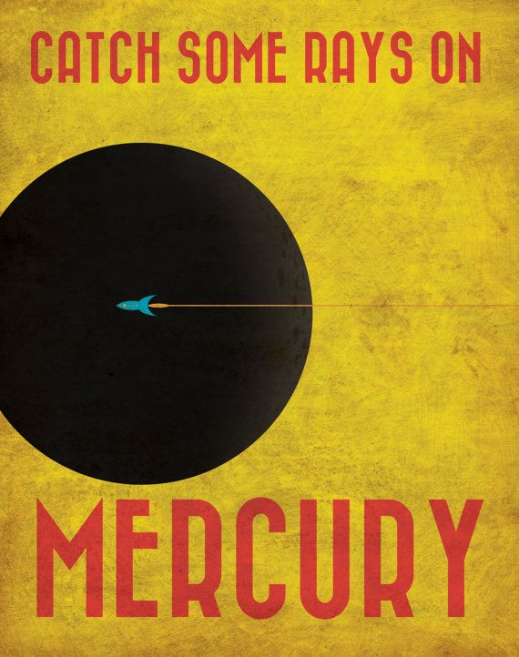 Mercury Retro Planetary Travel Poster by Justonescarf on Etsy