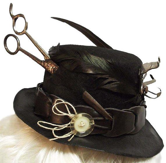 Steampunk Seamstress Mini Gothic Fascinator Top by JenkittysCloset
