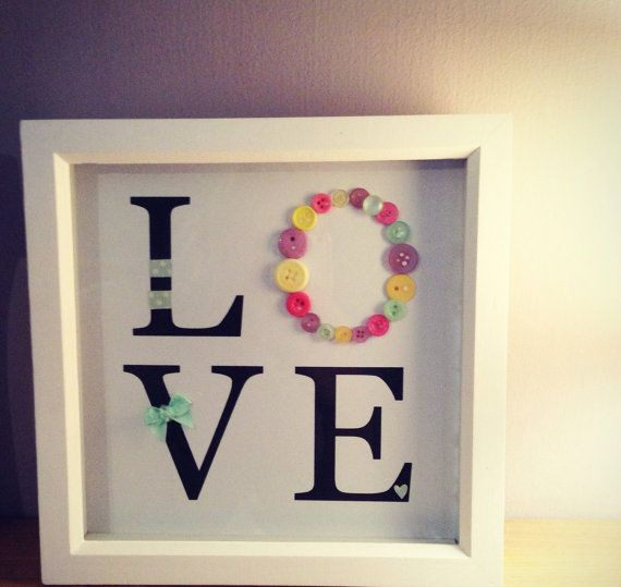 Square deep box LOVE frame various colour by BitsandButtons1