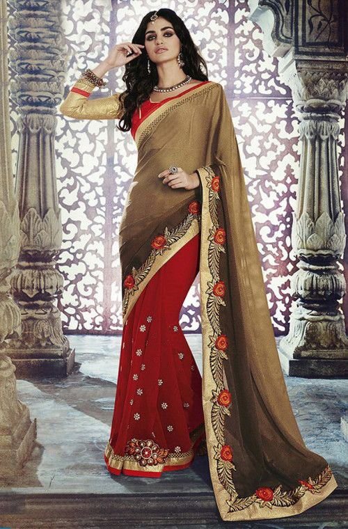 Red & Dark Gold Designer Georgette Saree