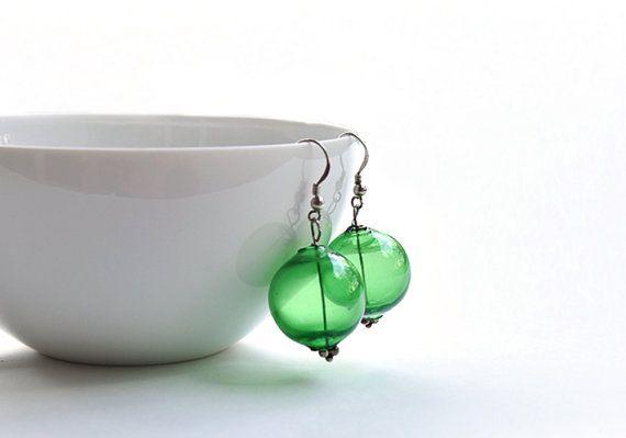 Green glass earrings Silver earrings Murano earrings by BeadABoo