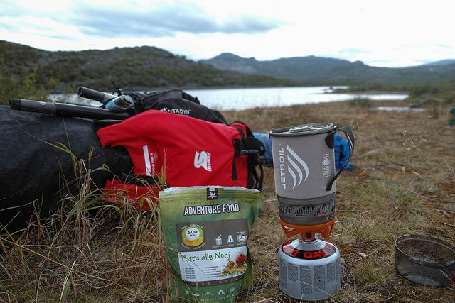 The scenery was quite nice with the lake and the mountains to have our first lunch brake on our backpacking trip in Sarek where we prepared a package of adventurefood with our jetboil.  More about our trip on our blog: http://hikeventures.com/hiking-and-packrafting-in-sarek-day-1/